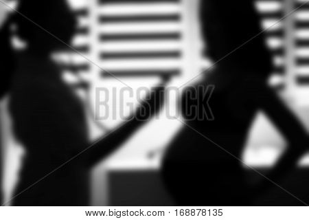 Silhouette Female Medicine Doctor Holding Stethoscope To Pregnant Woman Standing For Encouragement,