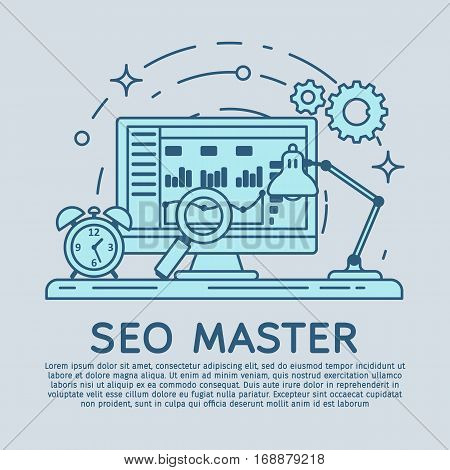 Lineart flat visitor analytics website banner. Website development, search engine optimization. Web analytics elements and marketing. Workplace expert in SEO and SMM. Stroke lines vector illustration