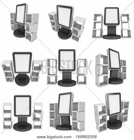 LCD Display Stand and product display boxes set. Blank Trade Show Booth. 3d render isolated on white background. High Resolution image. Ad template for your expo design.