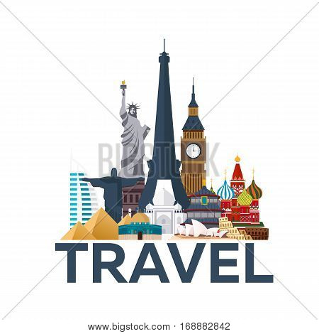 Travel Poster. Around The World. Vacation. Trip To Country. Travelling Illustration. Modern Vector F
