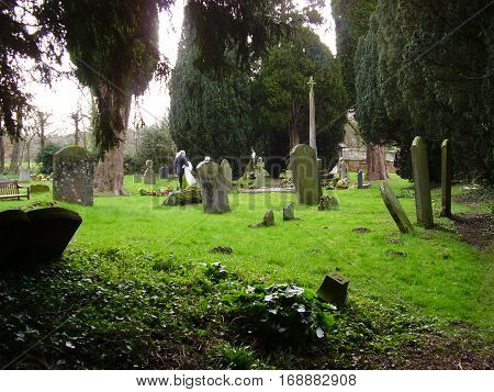 Lush green old graveyard with stones and trees