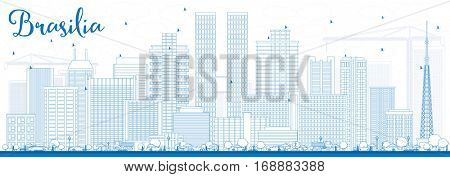 Outline Brasilia Skyline with Blue Buildings. Business Travel and Tourism Concept with Modern Architecture. Image for Presentation Banner Placard and Web Site.