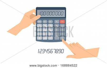 Accountant hand holds calculator and counts business income. Flat concept illustration of businessman hands and office school calculator with digits on the display. Vector isolated on white elements.