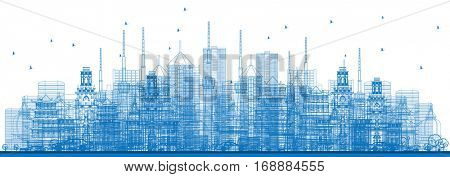 Outline City Skyscrapers and Buildings in Blue Color. Vector Illustration. Business Travel and Tourism Concept. Image for Presentation, Banner, Placard and Web Site