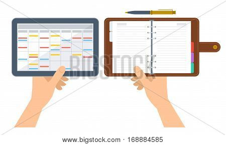 Hands are holding electronic and paper organizer and planner. Flat concept illustration of digital agenda on the tablet screen and business diary with leather cover. Vector schedule isolated on white.
