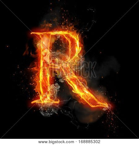 Fire letter R of burning flame. Flaming burn font or bonfire alphabet text with sizzling smoke and fiery or blazing shining heat effect. Incandescent hot red fire glow on black background.