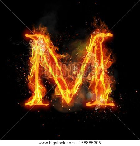 Fire letter M of burning flame. Flaming burn font or bonfire alphabet text with sizzling smoke and fiery or blazing shining heat effect. Incandescent hot red fire glow on black background.