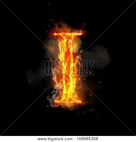 Fire letter I of burning flame. Flaming burn font or bonfire alphabet text with sizzling smoke and fiery or blazing shining heat effect. Incandescent hot red fire glow on black background.
