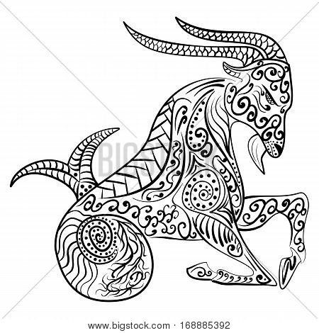 Zentangle Hand-drawn zodiac capricorn with ethnic floral and geometric doodle pattern. Horoscope symbol vector illustration