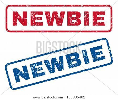 Newbie text rubber seal stamp watermarks. Vector style is blue and red ink caption inside rounded rectangular banner. Grunge design and dust texture. Blue and red stickers.