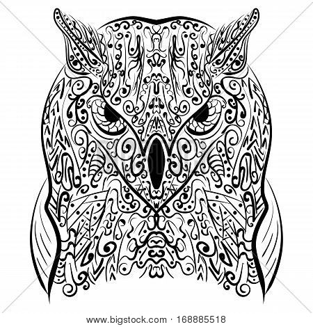 Zentangle stylized Black Owl. Hand Drawn vector illustration isolated on white background. Vintage sketch for tattoo design or mehandi.