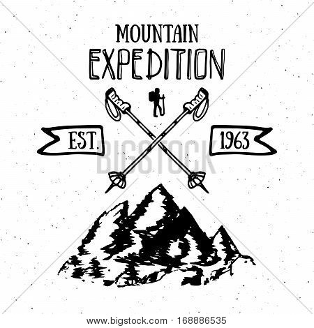 Mountain Expedition Vintage Label Retro Badge. Hand Drawn Textured Emblem Outdoor Hiking Adventure A