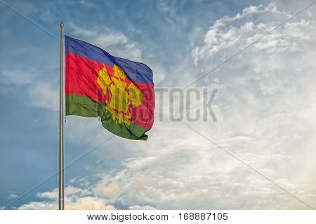 Flag of Russian Krasnodar region waving on wind
