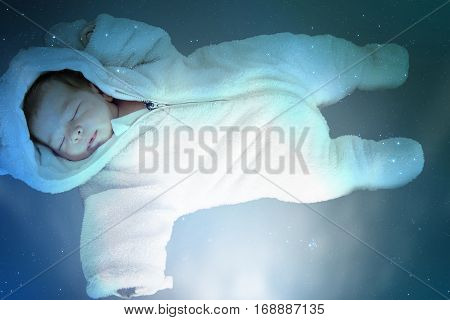 Adorable Baby Asleep In Night Sky Full Of Stars