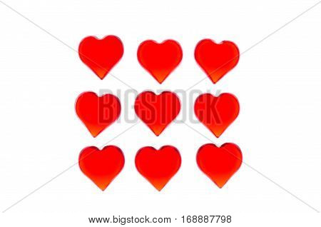 Bright red hearts 9 pieces in the form of a square. In order to use Valentine's Day, weddings, International Women's Day