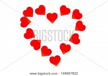 Bright red hearts on a striped background in the form of a large heart. In order to use Valentine's Day, weddings, International Women's Day