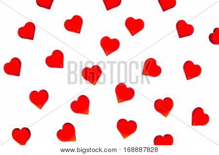 Bright red hearts on a striped background. In order to use Valentine's Day, weddings, International Women's Day
