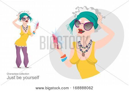 Old woman in bright stylish clothes makes selfie. Modern pensioner. Mobile devices and gadgets. Self-expression. Cartoon style.