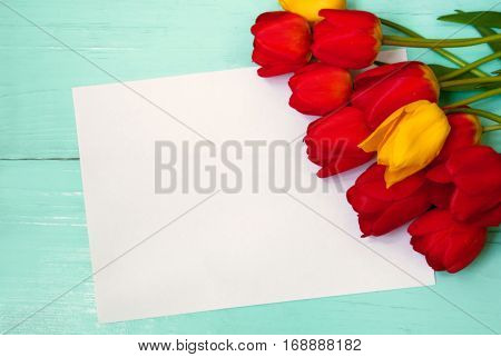 Beautiful Card for Easter, March 8, valentines day, mothers day. Red and yellow tulips on wooden light turquoise background with sheet of paper. Top view, Flat lay.