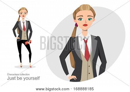 Serious woman in a business suit unisex. Gender equality in business. Stylish girl in a suit and tie. Office clothing style for women.