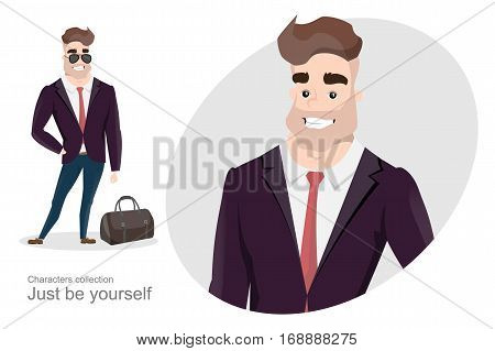 Stylish man in business suit with a bag. Office Style. Modern business style. A handsome man in strict suit.