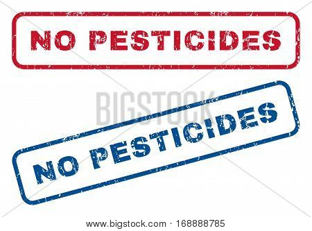 No Pesticides text rubber seal stamp watermarks. Vector style is blue and red ink caption inside rounded rectangular shape. Grunge design and dust texture. Blue and red signs.