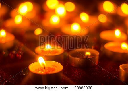 candles and candlelight with star filter effect