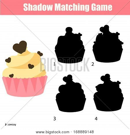 Shadow matching game for children. For kids preschool and school age. Worksheet, find the correct silhouette for cupcake