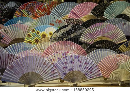 Colourful and traditional fans as a display in Kyoto, Japan