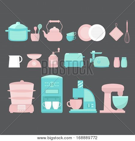Illustration of home appliances and utensils. Collection of vector elements coffee machine, blender, toaster, juicer, steamer, scale, coffee mill, meat grinder, pan, plates kettle cup and other