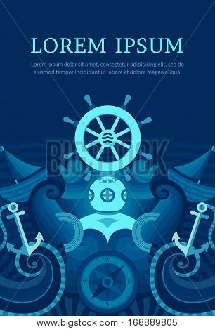 Vector marine background with anchor, wheel, diver, lighthouse, ship, compass.Decorative template for cards, invitations, banners, covers web pages Illustration in a nautical style