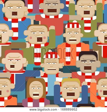 Vector seamless tile illustration of an angry sports crowd