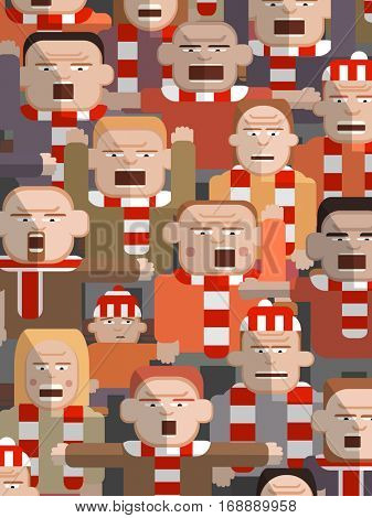 Vector illustration of an uncertain young boy with his shouting father in an angry sports crowd