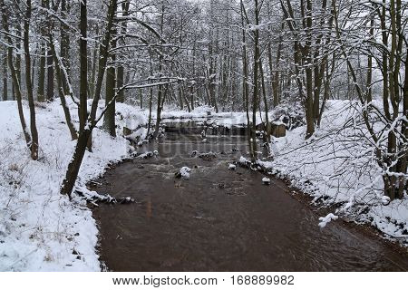 The photo shows a small, lowland river. It flows through the forest edges are overgrown with bushes and trees. It's winter. The banks of the river covers the layer of snow.