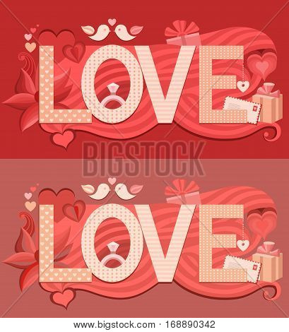 Typography Valentine s Day. Vector greeting card for Valentines day with text love. Wedding invitation. Card to make a marriage proposal.