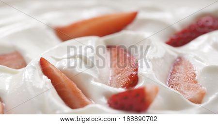 fresh sliced straberries in cream background, 4k photo