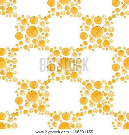 Modern stylish texture. Repeating geometric pattern with dotted orange watercolor squares. Tiles with dotted rhombuses.
