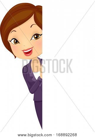 Illustration of a Beautiful Young Woman in Corporate Attire Peeking from Behind a Blank Board