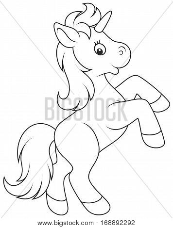 Black and white vector illustration of a baby unicorn prancing