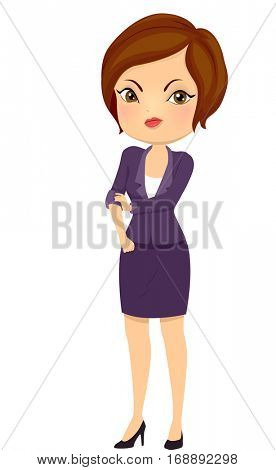 Illustration of a Beautiful Young Woman in Corporate Attire Rolling Up Her Sleeves