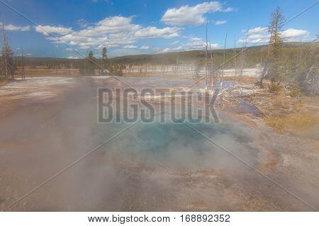 the scenic geothermal hot springs in Yellowstone National Park Wyoming
