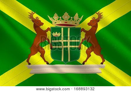 Flag of Aa en Hunze is a municipality in the northeastern Netherlands. 3d illustration