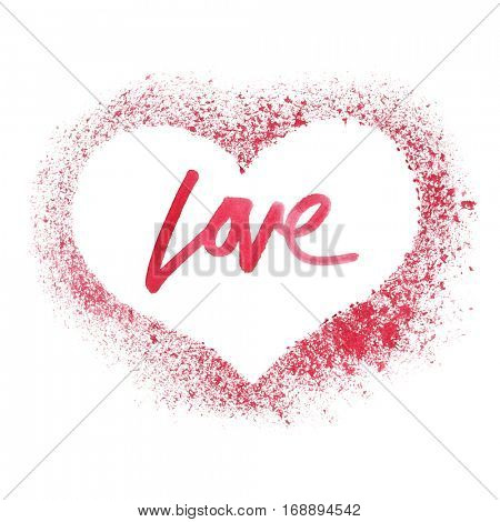 Sprayed red heart isolated on a white background -- Valentine's card