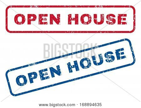Open House text rubber seal stamp watermarks. Vector style is blue and red ink tag inside rounded rectangular banner. Grunge design and dirty texture. Blue and red emblems.