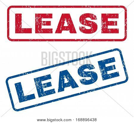 Lease text rubber seal stamp watermarks. Vector style is blue and red ink caption inside rounded rectangular banner. Grunge design and scratched texture. Blue and red signs.