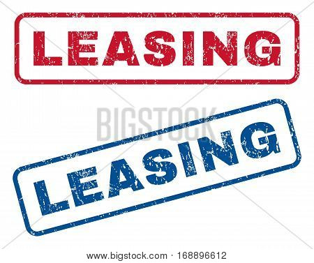 Leasing text rubber seal stamp watermarks. Vector style is blue and red ink caption inside rounded rectangular shape. Grunge design and dust texture. Blue and red signs.