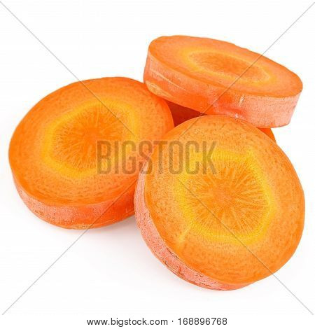 Fresh carrot slice isolated on white background