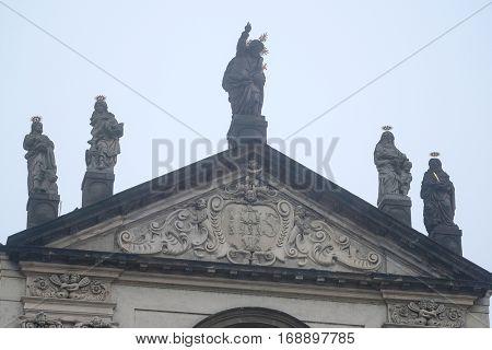 Prague, Czechia - November, 21, 2016: monument on a building in a center of Prague, Czechia