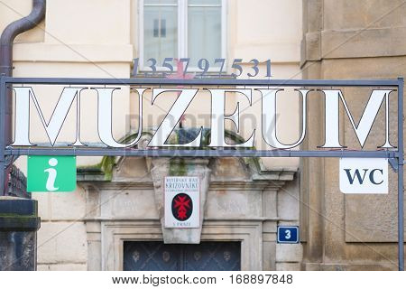 Prague, Czechia - November, 21, 2016: museum signboard in Prague, Czechia
