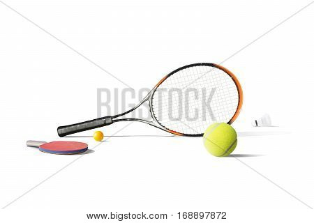 Tennis equipment isolated in the white background
